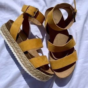 Women's Mustard Yellow Espadrille Sandals